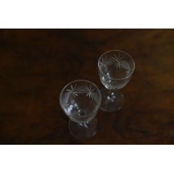 Štamprle, broušené sklo, 2 ks